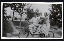 1930's TANDEM BICYCLE Man & Woman ORIGINAL PHOTOGRAPH Central Park ? Carriages