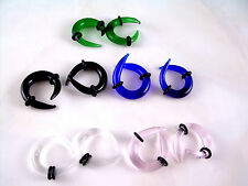 PINK Crossover Glass Ear Plugs Tapers Expanders Gauges Tribal Claws 4g ML16