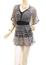 Women Faux Silk Sheer Chiffon Kimono Batwing Retro Lace Print Blouse Shirt Top