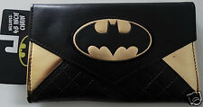 Batman Logo Dc Comics Quilted Envelope Chain Wallet Nwt