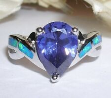 PEAR SHAPED SAPPHIRE & PACIFIC BLUE FIRE OPAL RING IN STERLING  SIZE  6