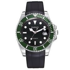 40mm Parnis Green Bezel Black Dial Automatic Sapphire Rubber Strap Watch 615