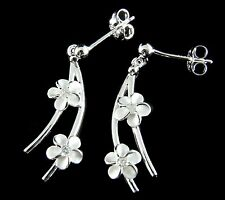 STERLING SILVER 925 SHINY BALL DANGLING HAWAIIAN PLUMERIA FLOWER EARRINGS CZ