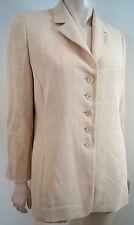 AKRIS Beige & Cream Checked Wool & Silk Blend Tailored Blazer Jacket US10 UK14
