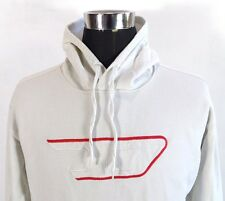 Men's DIESEL Hoodie Sweater, Size M Medium, White, Cotton hooded jumper #BL1046