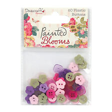 Dovecraft Painted Blooms Plastic Buttons Embellishments  for cards and crafts