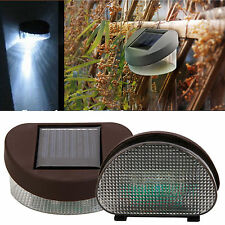Outdoor Garden Solar Powered Light 2 LED Wall Stairway Mount Fence Light Lamp