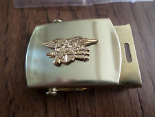 U.S MILITARY NAVY SEALS GOLD INSIGNIA  BRASS BELT BUCKLE MADE IN THE U.S.A