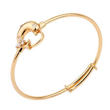 Baby Toddler 18K Gold Filled Cuff Bangle Dolphin With Mini CZ Zircons  Jewelry