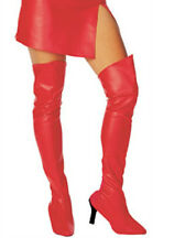 Red Boot Tops Top Shoe Covers Vinyl Leather Costume Thigh High Long Sexy Ladies