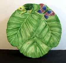 DIMENSIONAL LEAF, FROG AND BUTTERFLY DESIGN PEDESTAL CAKE PLATE