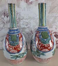 """Jaspanese  Edo Period Arita Ko Kutani Vases 9.5"""""""