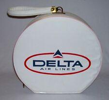 DELTA AIR LINES ~ Vintage White Vinyl Round TRAVEL CASE-FLIGHT BAG w/Loop Handle