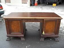 NICE ORIGINAL CARVED GERMAN OAK PAW FOOT ANTIQUE DESK 06BL098