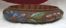Antique Flemish Art Bowl Mum's Daisy's Hand Colored Pyrographic Pyrography SHP