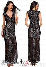 Womens Evening Dress Maxi Ball Gown Prom Black Party Formal Celeb Lace Size 8 10