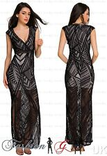Womens Evening Dress Maxi Ball Gown Prom Black Party Formal Long Lace Size 8 10.