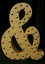 Large Heavy Wood Ampersand Sign Burlap Cloth And Rivets 11.5 x 9.5 x 1.5