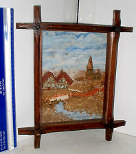 LP16 (c) ANTIQUE VICTORIAN CARVED CORK DIORAMA EARLY 20TH CENTURY