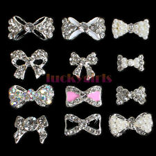 12x Alloy Crystal Rhinestones Bowknot Bow Nail Art Glitters Tips 3D Decorations