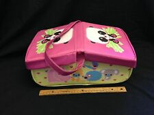 Panda Picnic basket utensils plates table cloth PREOWNED