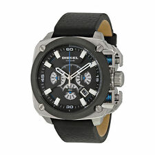 DIESEL BAMF CHRONOGRAPH BLACK DIAL BLACK LEATHER STRAP MEN'S WATCH DZ7345 NEW