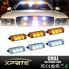 18 White/Amber LED Emergency Vehicle Flash Strobe Lights For Front Grill Deck