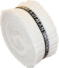 Robert Kaufman Kona Solid White Roll Ups Jelly Roll Fabric