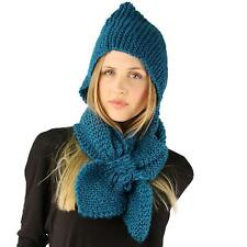 Winter Crochet Floral Hand Knit Hooded Scarf Pullover Headscarf Hoodie Hat Teal