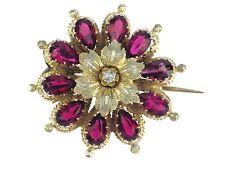 Jugendstil Silber vergoldet Granat Almandin Diamant Damen Anhänger Brosche