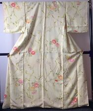 Authentic handmade Japanese silk kimono for women, yellow/flowers (F295)