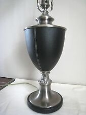 """Desk / Table Lamp- Leather and Metal, Urn Style. """"Original Accent Lamp"""""""