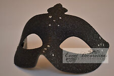 PACK of 12 BLACK GLITTER MASQUERADE MASKS, FANCY DRESS! 4235