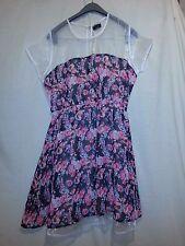 La Femme Women's Size L Large Pink Green Black Floral Dress See Thru NWOT