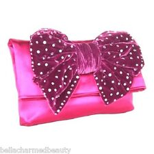 Betsey Johnson Pink Satin Fold Over Velvet Embellished Bling Bow Clutch Bag NWOT