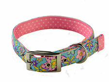 Yellow Dog Uptown Collar Flower Power on Pink Polka Design  - Size Extra Large