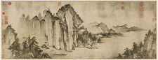 Chinese old painting Ink style Water mountain landscape Red cliff Jin Dynasty