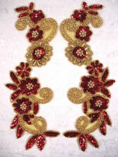 """0183 ~ RED GOLD MIRROR PAIR SEQUIN BEADED APPLIQUES 10"""""""
