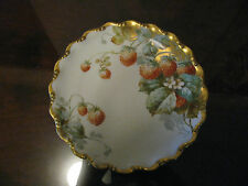 """Fabulous Limoges Hand Painted Plate """"Strawberries"""" 24k Gold Trim Signed A Caulou"""