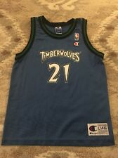 Timberwolves #21 Kevin Garnett Blue Champion NBA Jersey Youth L (14-16) Vintage