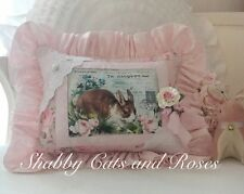 Brown & White Bunny~Roses~French Pillow~Embroidered Eyelet Trim~Silk Ribbon