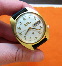 SERVICED VINTAGE 218 ACCUTRON 18KT. HEAVY GOLD PLATE TUNING FORK MEN'S WATCH N2