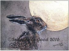 LARGE LIMITED EDITION  MOON HARE PAINTING PRINT FROM ORIGINAL BY SUZANNE LE GOOD
