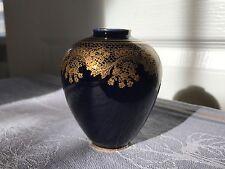 Vintage Lindner Kueps Bavaria Demitasse Echt Cobalt Blue Vase- Gold Lace Pattern