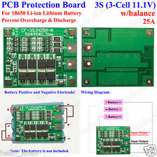 3S 25A 11.1v 12.6v Li-ion Lithium 18650 Battery Pack Protection Circuit Balance