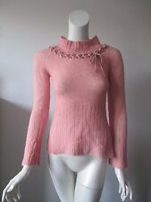 Anthropologie Sleeping on Snow Salmon cable Neck Wool Blend Sweater fits XS