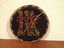 Vintage Egyptian Revival Style Plate / Wall Plaque Brass & Copper Musicians Dec.