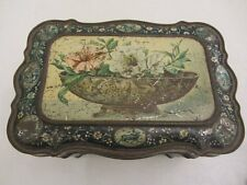 Vintage HUNTLEY & PALMER BISCUIT TIN 1879-1899 FLORAL SEASONS CONTINENTS