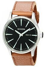 Nixon Sentry A1051037 Black Dial Brown Leather Band Men's Watch