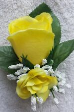 Rose Boutonniere*Corsage*Yellow *Groom*Best man*Prom*Party*Quinceanera Grad
